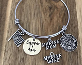 Marine Mom Wife Bracelet Custom Personalized Semper Fi US Military Deployment Gift Hand Stamped United States Marine Corps American Flag