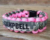 Custom Paracord Bracelet with Name Tape / pink / Army / Air Force / Marines