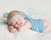 newborn photography prop baby photo propluxury crocheted light aqua halo headband with 5 pearls, baby shower gift, wedding or party