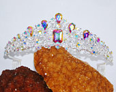 Brand New Silver AB Iridescent Rhinestone Crystal Queen Tiara Crown Bridal Pageant /1383