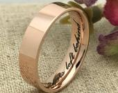 5mm Rose Gold Plated Stainless Steel Ring, Custom Promise Ring, Promise Ring for Him, Purity Ring, Coordinates Ring, Date Ring, DOJSSR487