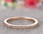 Art Deco Round Cut Natural Diamonds, Half Eternity Wedding Band, Solid 14K Rose Gold Ring, Promise Ring, Stacking Matching Band