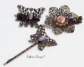 Hair Clips Butterfly for Women Hair Accessories, Hair Jewelry, Garden Party Hair Barrettes, Gift for Sister, Flower Barette Set for Woman