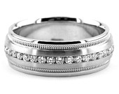 1ct Diamond Mens Wedding Ring Eternity Channel Band Matte Brushed Satin 14k Gold (CW272)