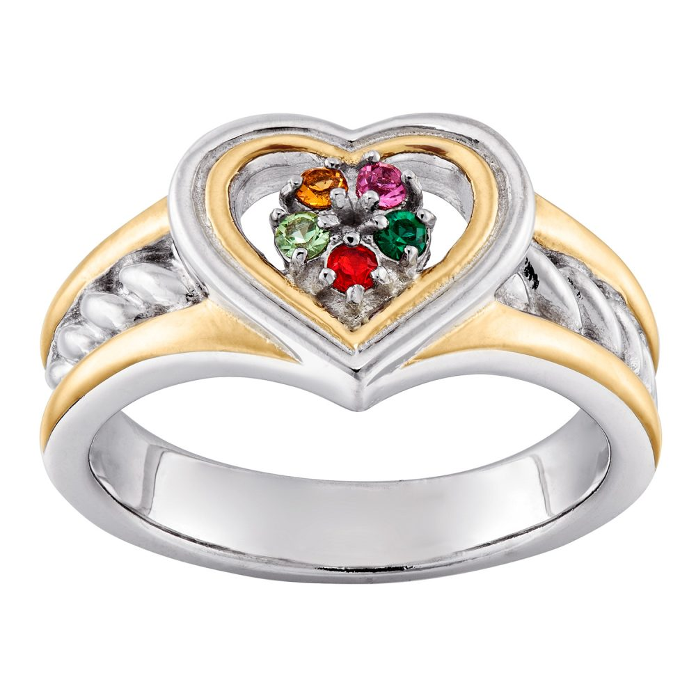 Mother's Sterling Silver Two-Tone Heart Birthstone Ring