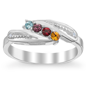 Sterling Silver Mother's 4-Stone Birthstone Ring with Diamond