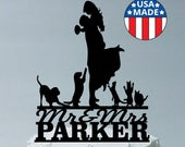 Custom Family Wedding Cake Topper Personalized, Up to a Family of 7 Max Choice of Silhouettes for Kids Girls Boys Dogs Cats You Select
