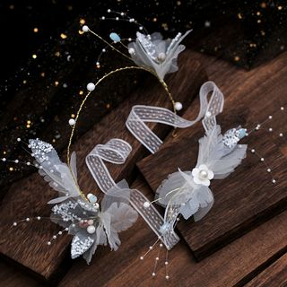 Wedding Set: Faux Pearl Flower Lace Headband + Choker Hair Clip & Choker - One Size