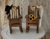 Rocking chair wedding cake topper country weddings rustic sunflowers bride groom Mr and Mrs hat and veil wedding sign wood chairs western