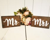 Mr and mrs wood signs, sweetheart table sign, head table sign, bride and groom table signs, rustic wedding decor, wooden sign, hanging sign