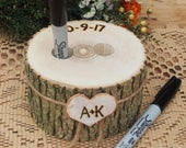 Wood PEN HOLDER Guest Book Wedding Table Wedding Pen Holder Wood Rustic Country Wedding Brown