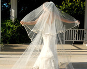 Full Circle Cut Cathedral Wedding Veil Drop Style with Satin Edge and Blusher Layer Champagne Veil Blush Veil Memphis