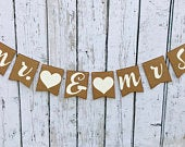 MR MRS Wedding Banner Wedding pennant Mr and Mrs banner 4.5 x 5.8 We do banner Ivory and Brown themeRustic Wedding Banner