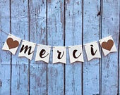 MERCI Wedding banner Thank you Banner Ivory and Chocolate theme Rustic Pennant4.5 x 5.8 inchesMerci SignEngagement celebration