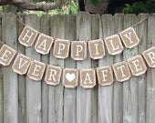 Burlap HAPPILY EVER AFTER banner, Burlap wedding banner, Rustic wedding decor, wedding sign, burlap wedding decor, burlap wedding sign