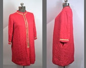 Housecoat Red Coral Gossard Womens L Vintage 60s Housewife Wear With Gold Trim Imperfect