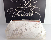 White with Gold Glitter Clutch Purse with Gold Tone Frame, Bridal Clutch, Wedding, Special Occasion, Mothers Day Gift, Bridal Shower Gift
