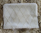 Winter White Beaded Clutch, Cocktail, Estate Vintage Convertible Handbag CL102 Bridal, Evening Dress, Party Clutch, vintage, made in Japan