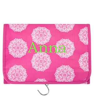 Personalized Hang It Up Cosmetic Bag - Pink - Name -Block