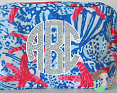 Personalized Cosmetic Bag, Makeup Bag, Lilly Pulitzer Inspired, Starfish, Monogram, Lilly Bag, Makeup Case, Accessory Bag, Wedding, Gift