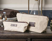 Monogrammed Toiletry Bag Set: Personalized Cosmetic Bags in Natural Waxed Canvas, Wedding Gift, Gift for Her, Made in USA