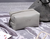 Personalized Make Up Bag Bridesmaid Gift Cosmetic Organizer Vegan Leather Case Wedding Bridal Gift Cosmetic Pouch PEARL GREY