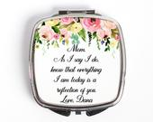 MotheroftheBride Gift, Motherofthebride Compact Mirror, Thank you Mom, Gift from Daughter, Gift From Bride, Mother of Bride Mirror
