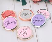 Personalized Gift For Women Teacher Gift Floral Mirror Bridesmaid Gift Unique Bachelorette Party Favors Mirror Compacts Bridesmaid Mirror