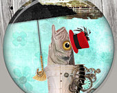 Umbrella Fish Pocket Mirror, Photo Mirror, Compact Mirror of Steampunk Illustration Image A71