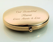 Personalized Gold Oval Compact Mirror Custom Engraved Free