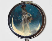 Fairy Moon Compact Mirror Whimsical Fairytale Fairy Tale Storybook Make Up Pocket Mirror for Cosmetics