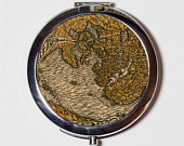 Tropic of Cancer Antique Map Image Compact Mirror Make Up Pocket Mirror for Cosmetics