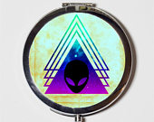 Alien Compact Mirror Outer Space Outerspace Universe Occult Triangle Make Up Pocket Mirror for Cosmetics