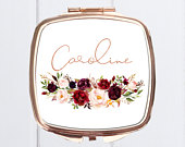 Rose Gold compact mirrorBridesmaid GiftsBridal MirrorsBridal shower favorcompact mirrorpersonalized compact mirrorpocket mirror
