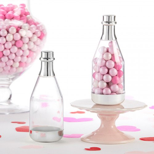 Silver Champagne Bottle Favor Container