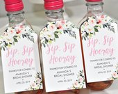 Bridal Shower Favors Tags for Mini Wine Bottles, Wedding Favors, Mini Champagne Tags, Personalized Wedding Tags Blush Floral Set of 12