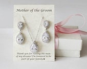 Mother of the groom gift set, Mother of the bride gift, Mother in law, mother wedding gift, Mother wedding earrings,Sterling silver necklace