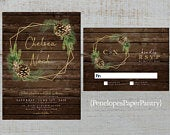 Simple Rustic Winter Wedding Invitation,Geometric Frame,Evergreen Branches,Pine Cones,Barn Wood,Gold Print,Shimmery,Printed Invitation
