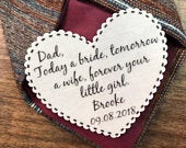 WEDDING GIFT for DAD Tie Patch, Choose Message and Font, 2.25 Heart Shaped, Dot Border, Sew, Iron, Father of the Bride, Father of Groom