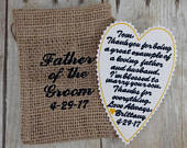 Father of the Groom Gift Custom Embroidered Tie Patch Gift from Bride to Father of the Groom Keepsake for Groom Embroidery F5