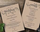 Wedding Welcome and Itinerary card, editable PDF template, Timeline card, Wedding weekend, welcome bag, welcome box, rustic theme(TED41810)