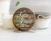 Set of 12 4 oz. Soy Candles / Personalized Wedding Favors / Wood and Greenery / Donation to Animal Rescue with Every Purchase