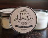 Set of 12 4 oz. Wedding Favor Candles//Rustic Wedding Favor//Let The Adventure Begin//Personalized Favor//Bridal Shower Candle Favor//