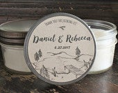 Set of 12 4 oz. Rustic Wedding Favor //Wedding Candles// Mountain Wedding//Lake Wedding/Personalized Favor//Bridal Shower Candle Favor//