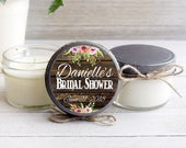 Set of 12 4 oz. Soy Candles / Personalized Wedding Favors / Wood and Floral / Donation to Animal Rescue with Every Purchase