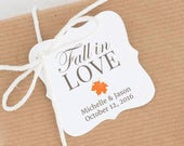 Fall in love tags Fall in love thank you tag Fall wedding favor tags Fall bridal shower tags