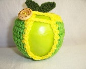 Handmade Crocheted Apple Cozy Crochet Apple Cozy in Spring Green Color with Bright Yellow Trim