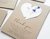 Wedding Favor Cards or Charity Donation Cards Plantable Heart Seeded Paper Reception Thank You and Charity Donation Favor Cards