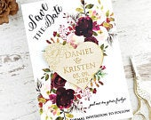 Save the Date Magnet Burgundy Winter Floral Card