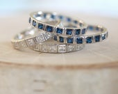 Sterling silver eternity band Stackable eternity band Princess cut eternity band Stackable rings Sapphire stackable rings